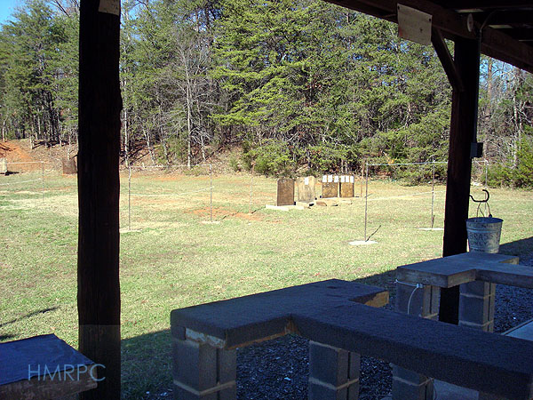 Shooting stations at the Hickory Mountain Rifle and Pistol Club shooting range.