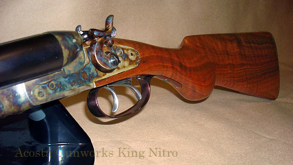King Nitro shotgun. Acosta Gunworks had the receiver refinished in a color-case hardening finish. The barrels were slow-rust blued.