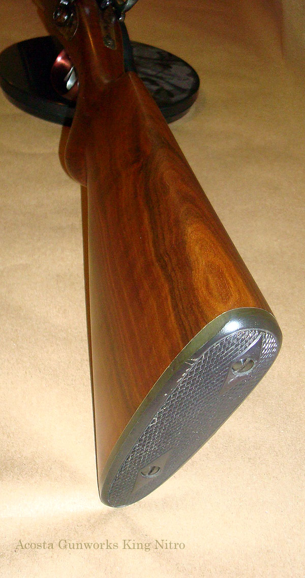 King Nitro shotgun with a traditional butt-plate, as opposed to butt-pad, installed.