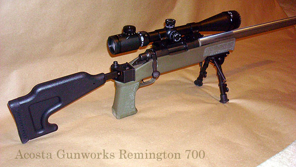 This Remington 700 rifle was built on a blueprinted Remington 700 short action and uses a Choate folding stock.